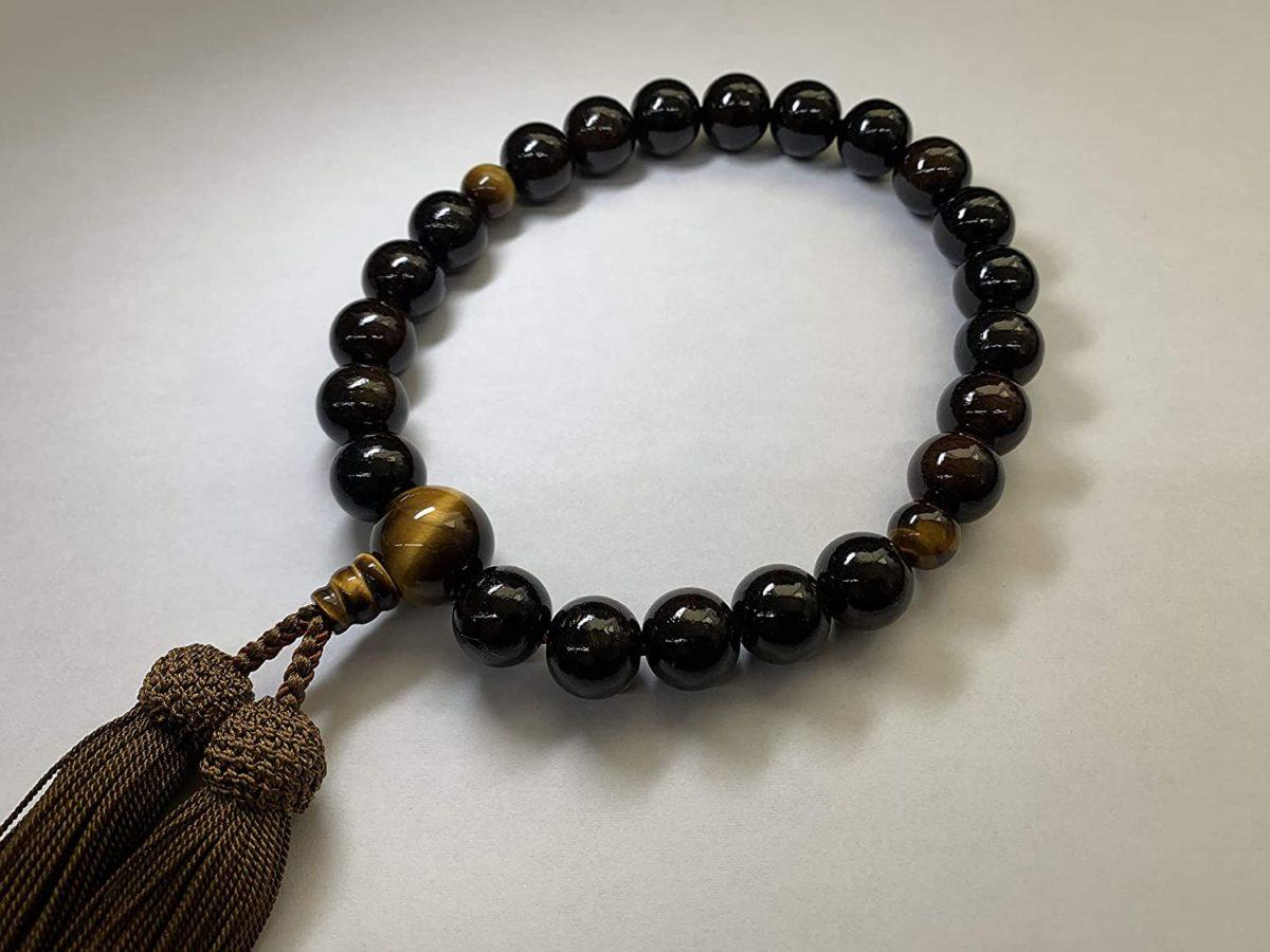 御念珠 数珠 男性用 縞黒檀 (艶消)