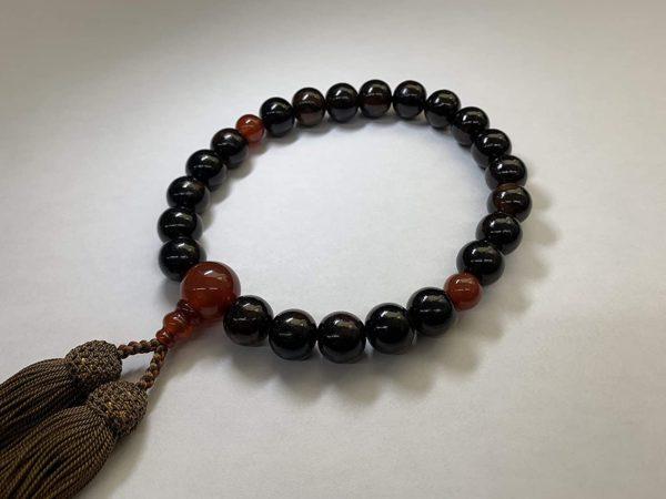 御念珠 数珠 男性用 縞黒檀 (艶消)22玉 瑪瑙仕立て